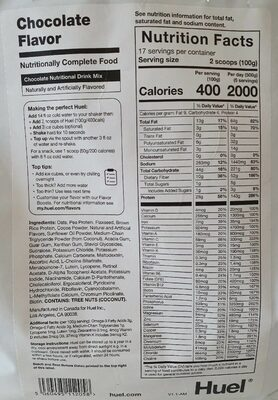 Chocolate Nutritional Drink Mix - Nutrition facts - en