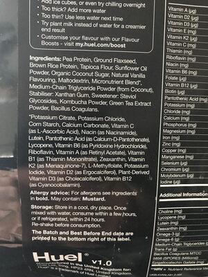 Huel Black: Vanilla v1.0 - Ingredients - en