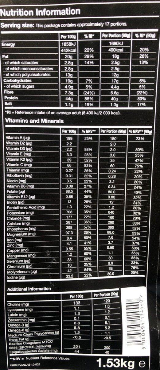 Huel Black: Vanilla v1.0 - Nutrition facts - en