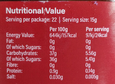 Strawberry fruit spread - Informations nutritionnelles