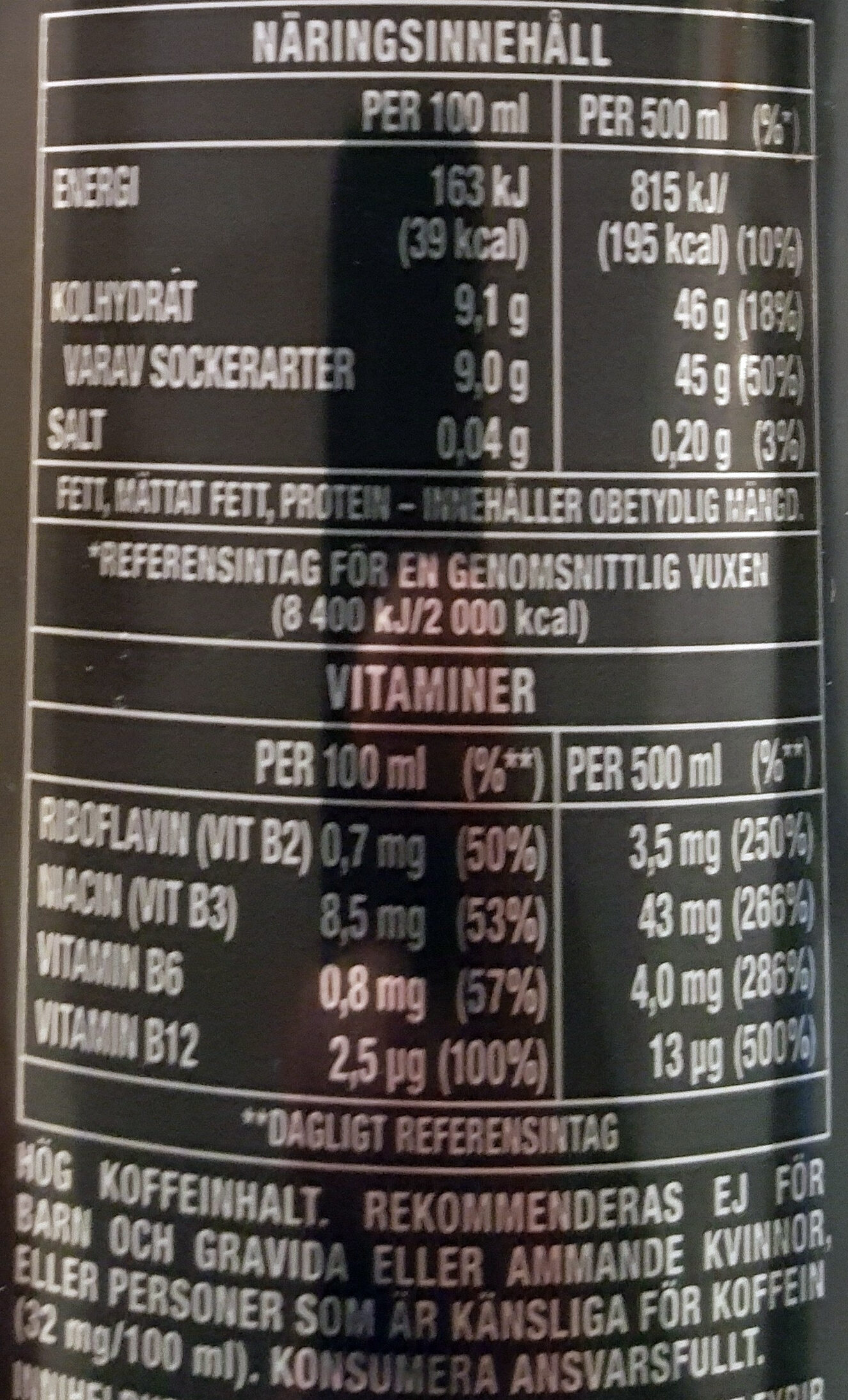 Monster Punch MIXXD - Nutrition facts