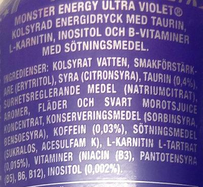 Monster Energy Ultra Violet - Ingrédients - sv