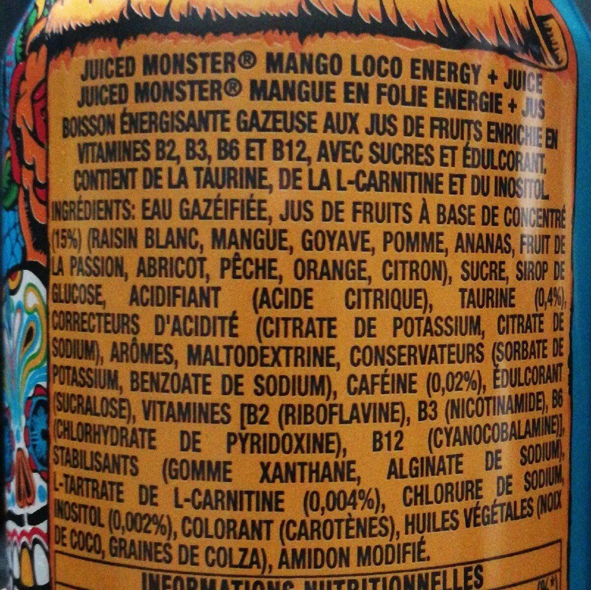 Juiced - Mango loco - Ingrédients