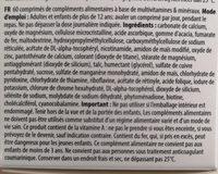 Multivitamines et minéraux - Ingrédients