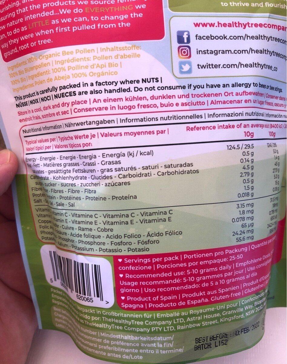 Bee pollen granules - Información nutricional - es