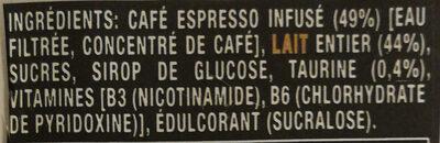 Monster Espresso parfum Espresso et lait - Ingrédients