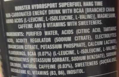 Monster hydrosport - Ingredienti - en