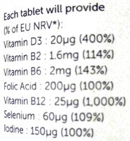 VEG 1 Multivitamin Chewable Tablets - Nutrition facts