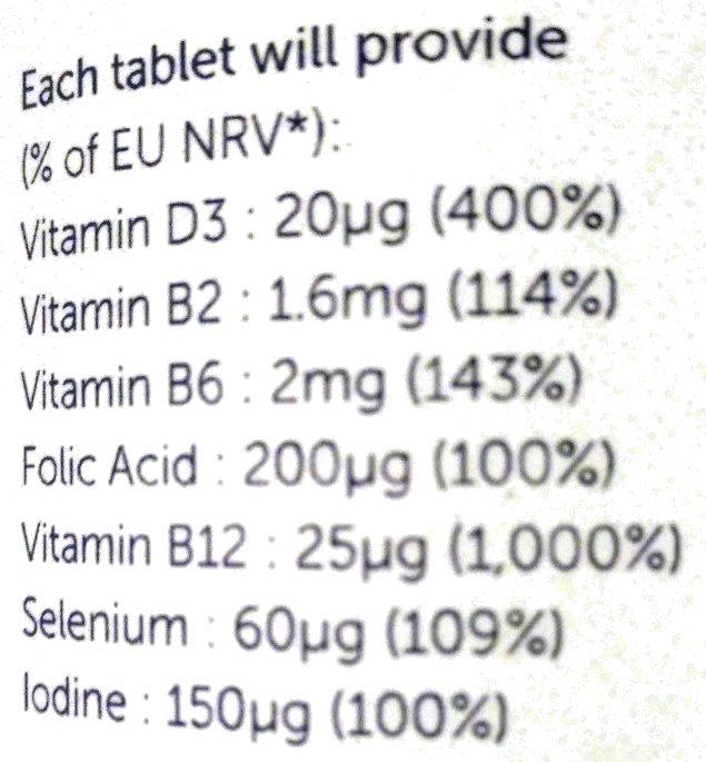 VEG 1 Multivitamin Chewable Tablets - Nutrition facts - en
