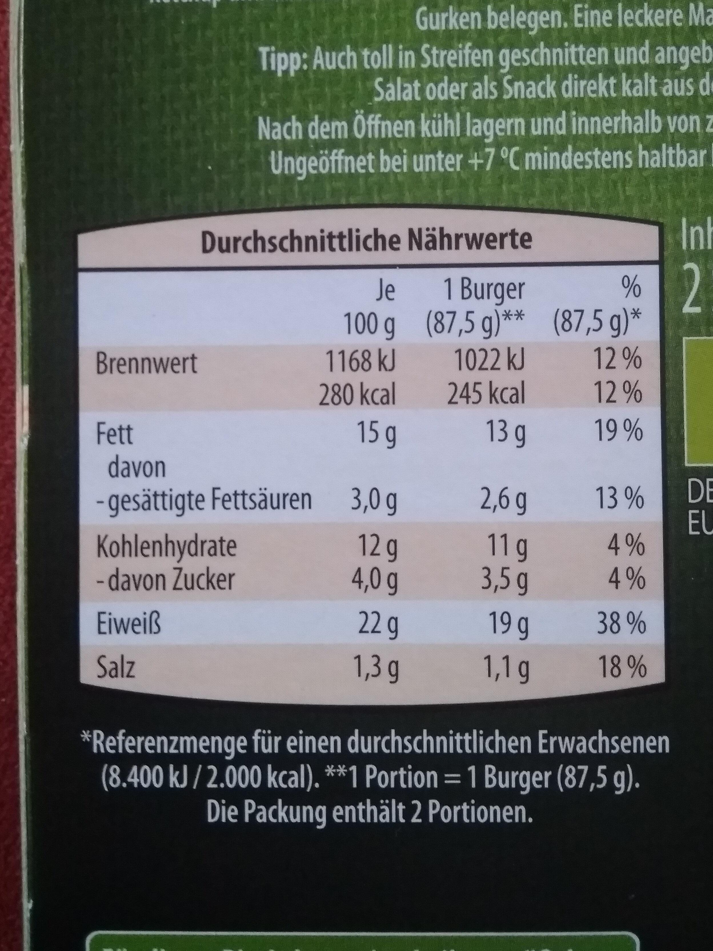 Bio Veggie Burger - Nutrition facts - de