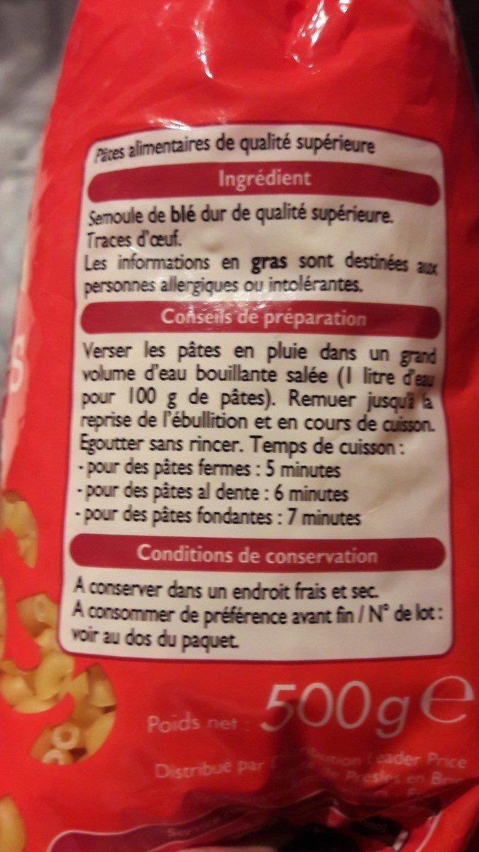 Coquillette - Ingrédients - fr