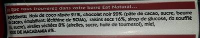 eat natural chocolat noir - Ingrediënten - fr