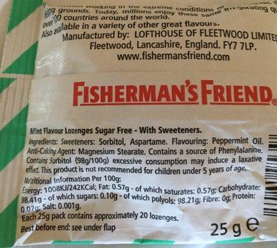 Fisherman's Friend Mint Sugar Free Lozenges - 25G - Nutrition facts