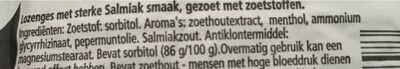 Fishermans Friend Salmiak Suikervrij Wit / Zwart - Ingrédients - fr