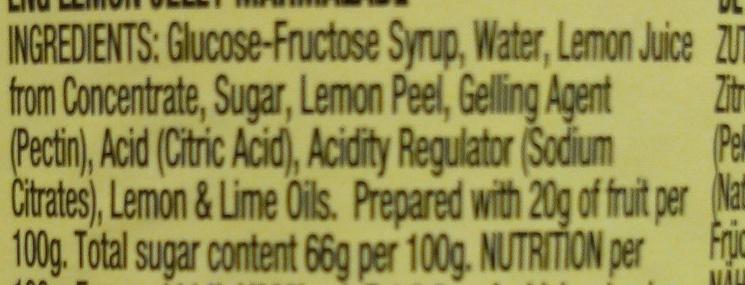 Lemon Jelly Marmalade - Ingredients
