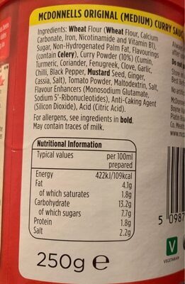 Original curry sauce - Nutrition facts