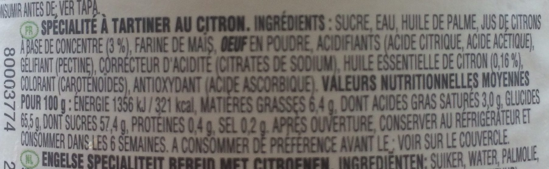 Lemon Curd - Ingrédients
