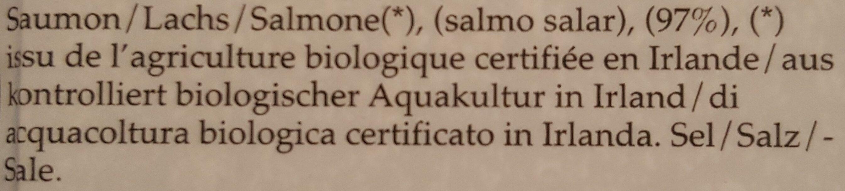 Saumon bio irlandais - Ingrediënten - fr