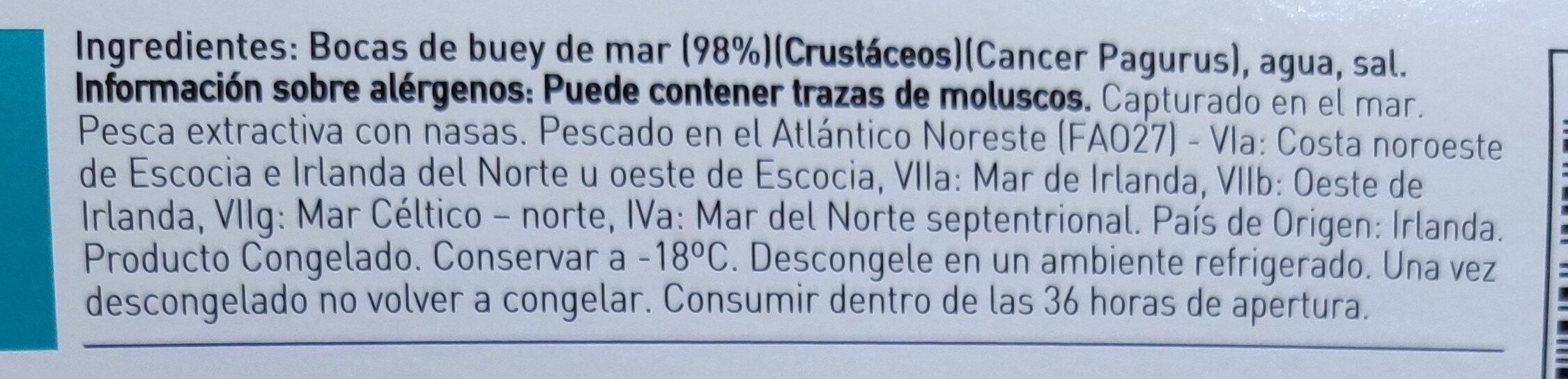 Bocas de buey de mar cocidas congeladas - Ingredientes