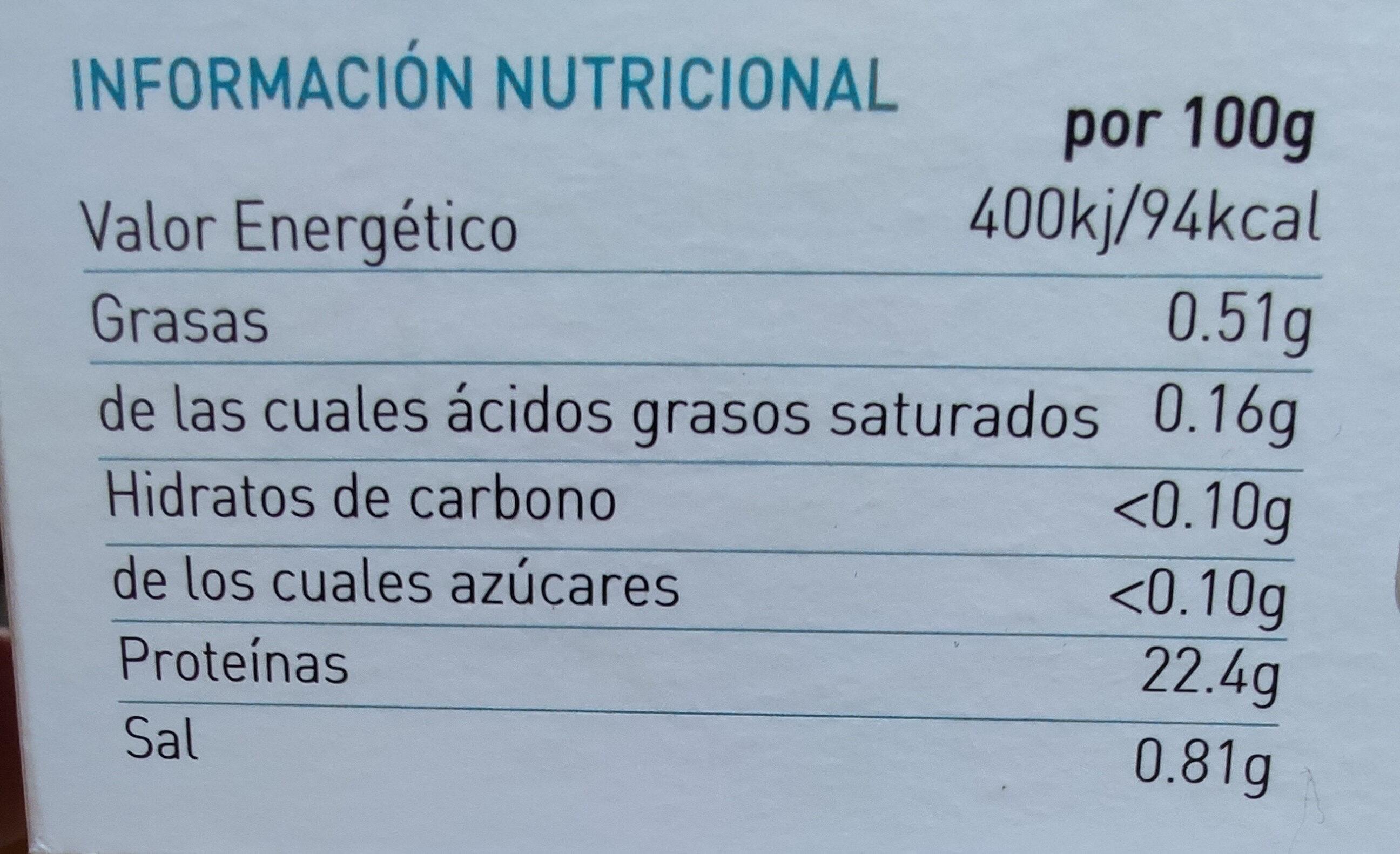 Bocas de buey de mar cocidas congeladas - Información nutricional