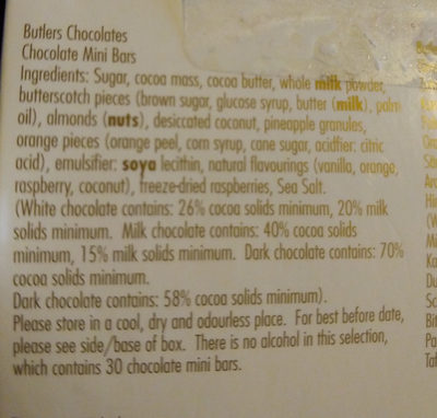 Butlers Chocolate mini bars - Ingredients - en
