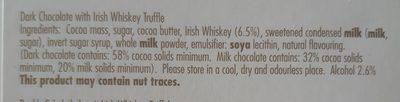 Iris whiskey dark chocolate with irish whiskey - Ingrediënten