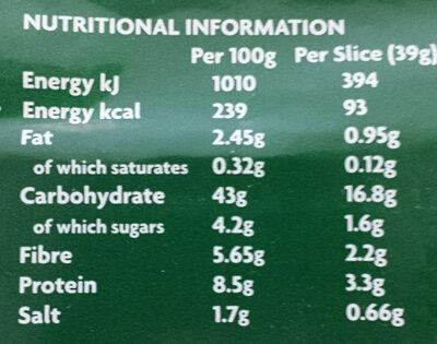 Brown Soda Bread - Información nutricional