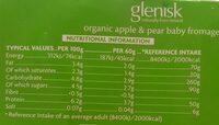 Fromage Frais, Apple and Pear - Valori nutrizionali - en