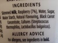 Yogurt (raspberry) - Ingredienti - en
