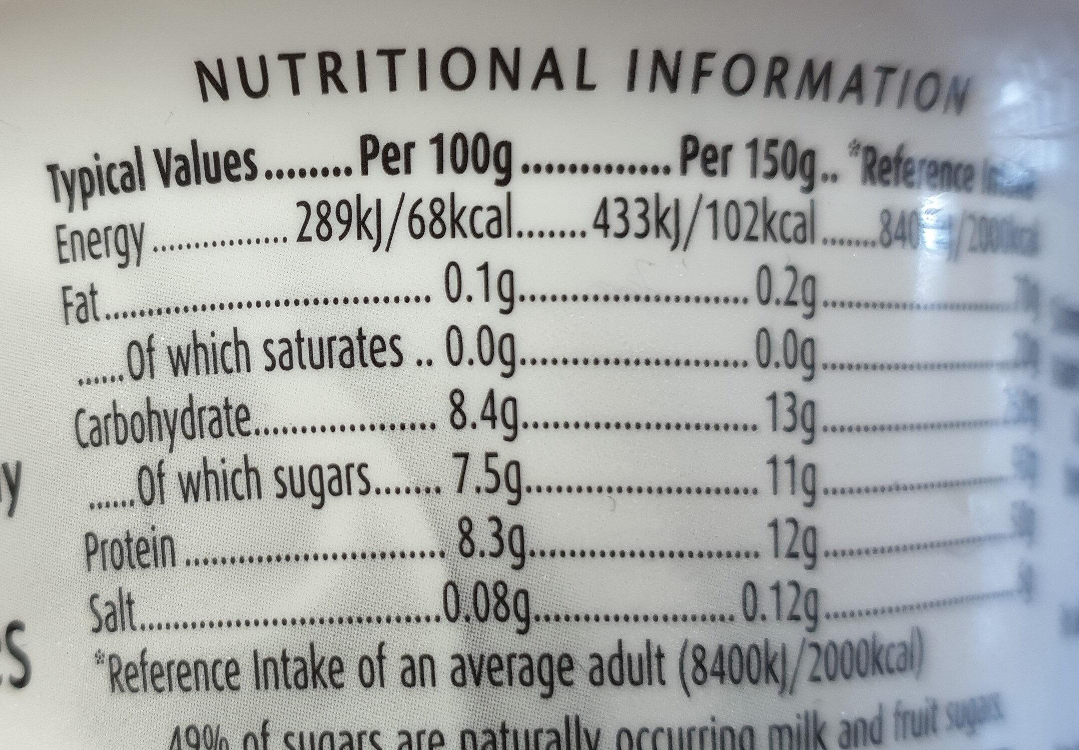 Yogurt (raspberry) - Valori nutrizionali - en
