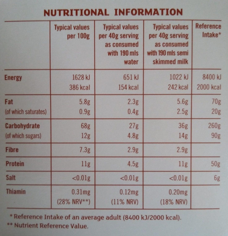 Quick oats - Nutrition facts - en