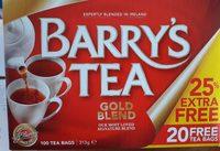 Barrys Gold Blend Tea Bags 80S Plus 25% Extra Free - Ingredients - fr