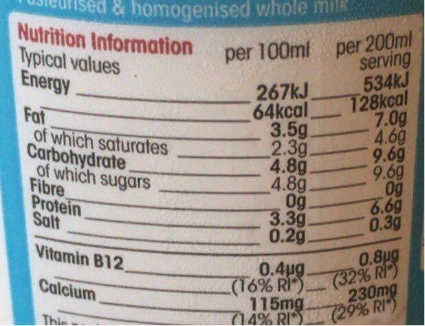 Fresh irish milk - Informations nutritionnelles - en