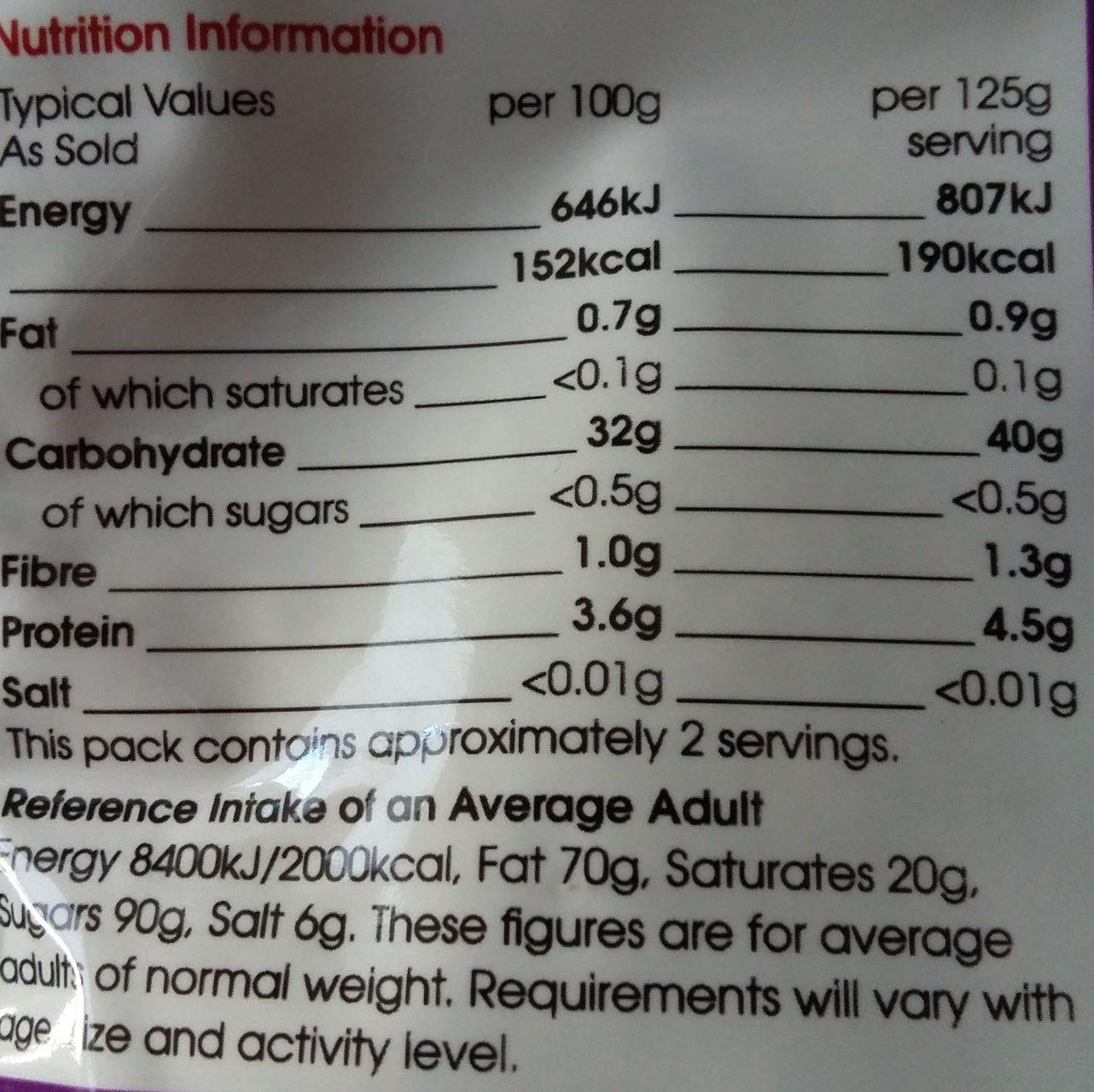 SuperValu Express Basmati Rice - Informations nutritionnelles - en