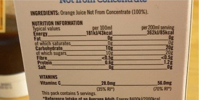 Smooth orange juice - Nutrition facts - en