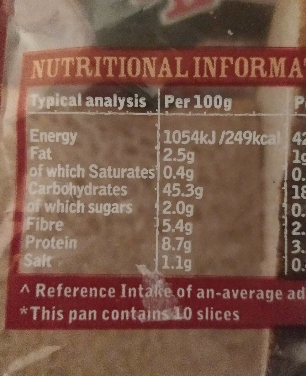 Wholemeal Slices Bread - Nutrition facts - en