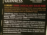 Guinness Luxury Dark Chocolate Bar (90G) - Ingredients - fr