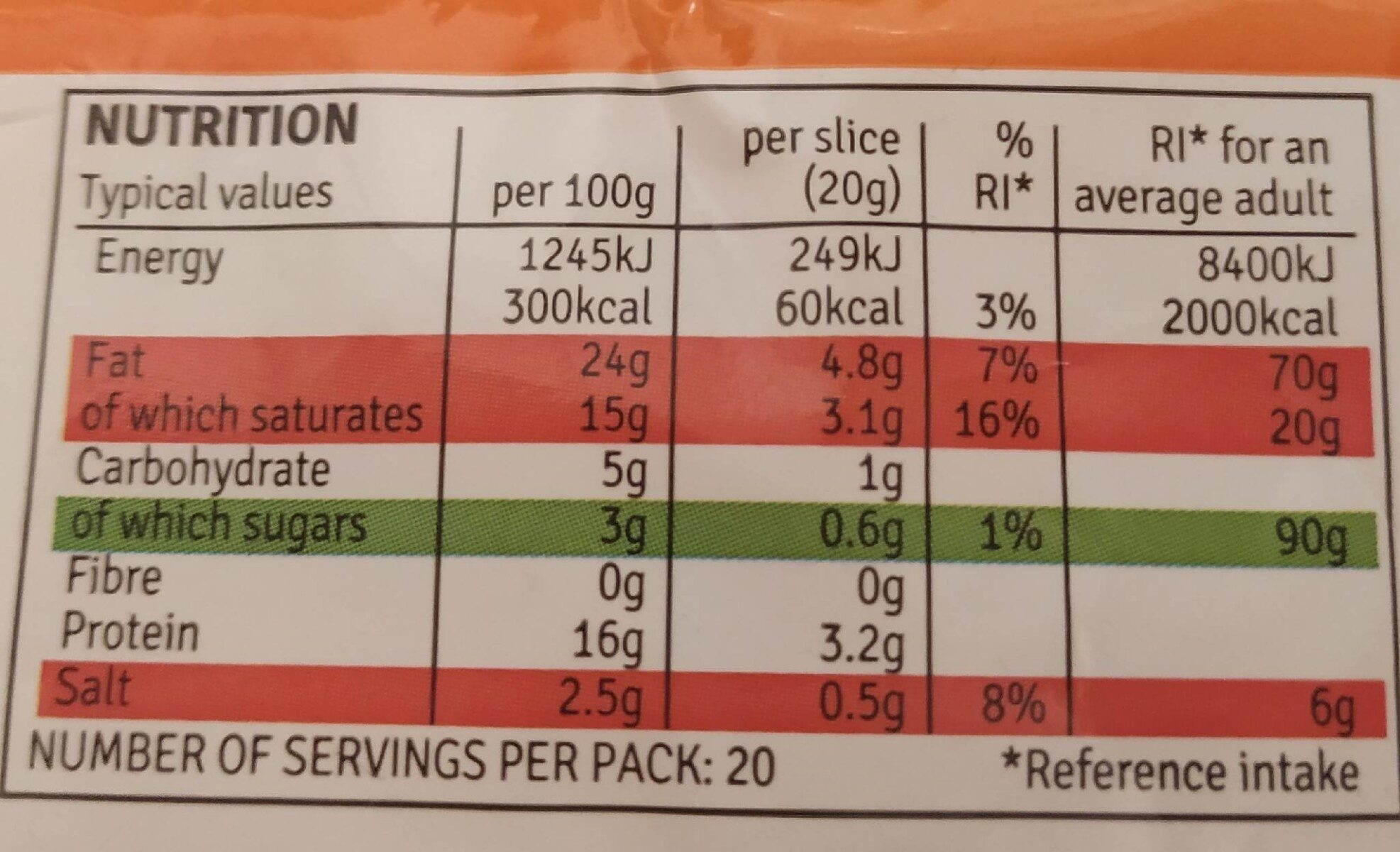 20 Cheese Singles - Nutrition facts - en