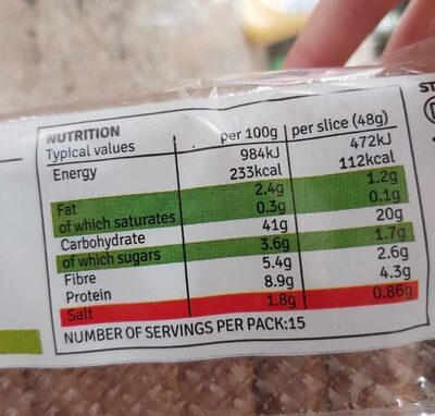 Sliced soda bread - Nutrition facts - en