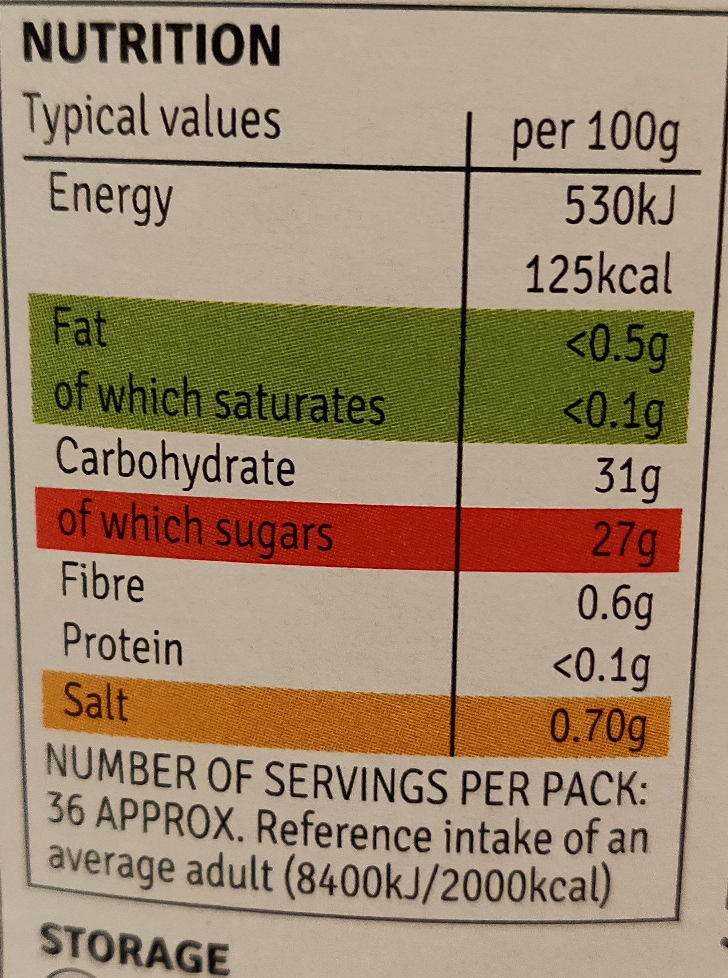Brown sauce - Voedingswaarden - en