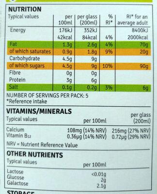 Irish Lactose Free Milk - Nutrition facts - en