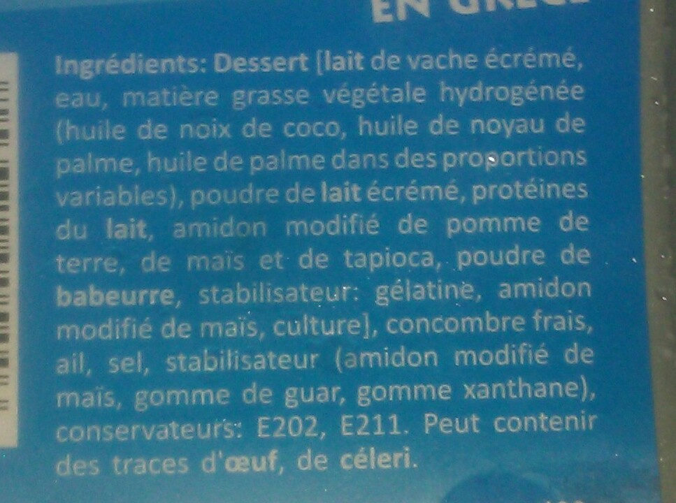 Tzatziki salade - Ingredients - fr