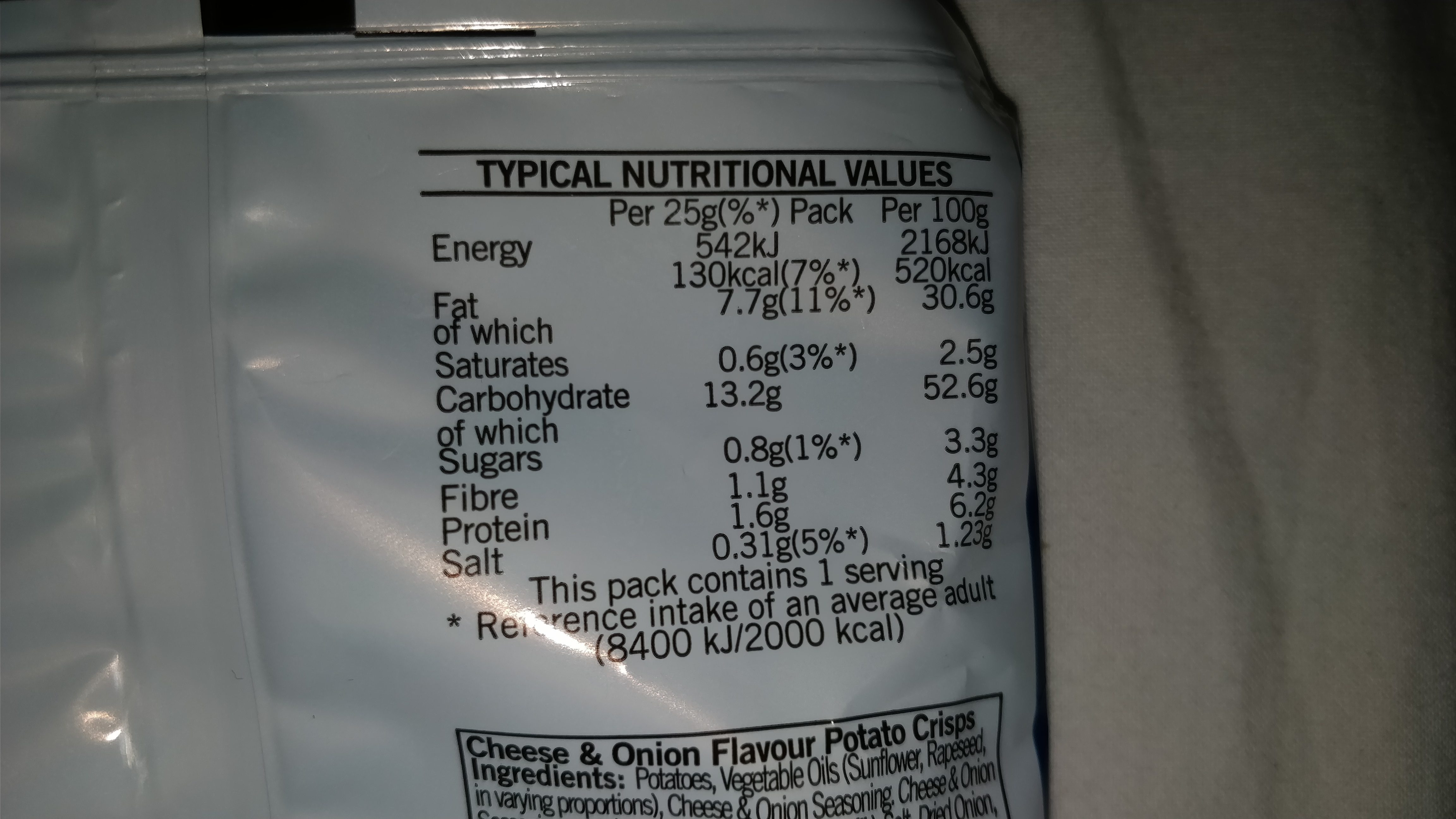 Cheese and onion crisps - Nutrition facts