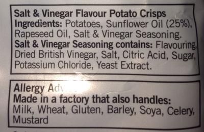 Salt and Vinegar crisps - Ingredients