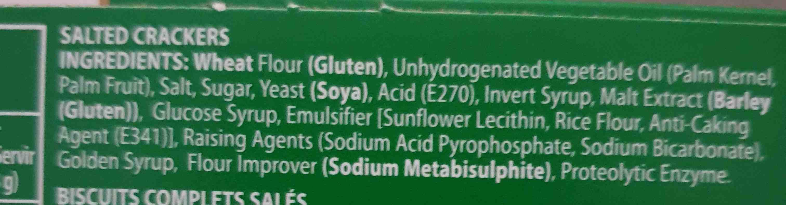 Bakers Salticrax - Ingredients