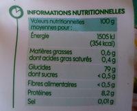 Riz blanc long grain - Informations nutritionnelles
