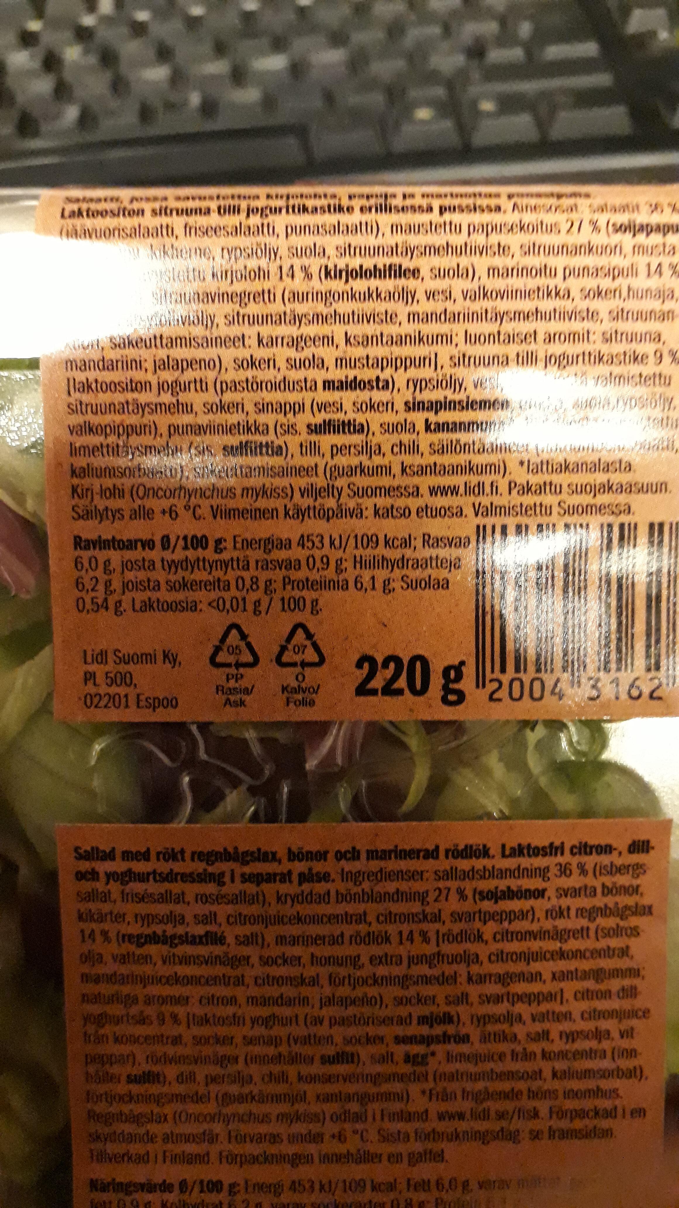 Savukirjolohisalaatti - Informations nutritionnelles - fi