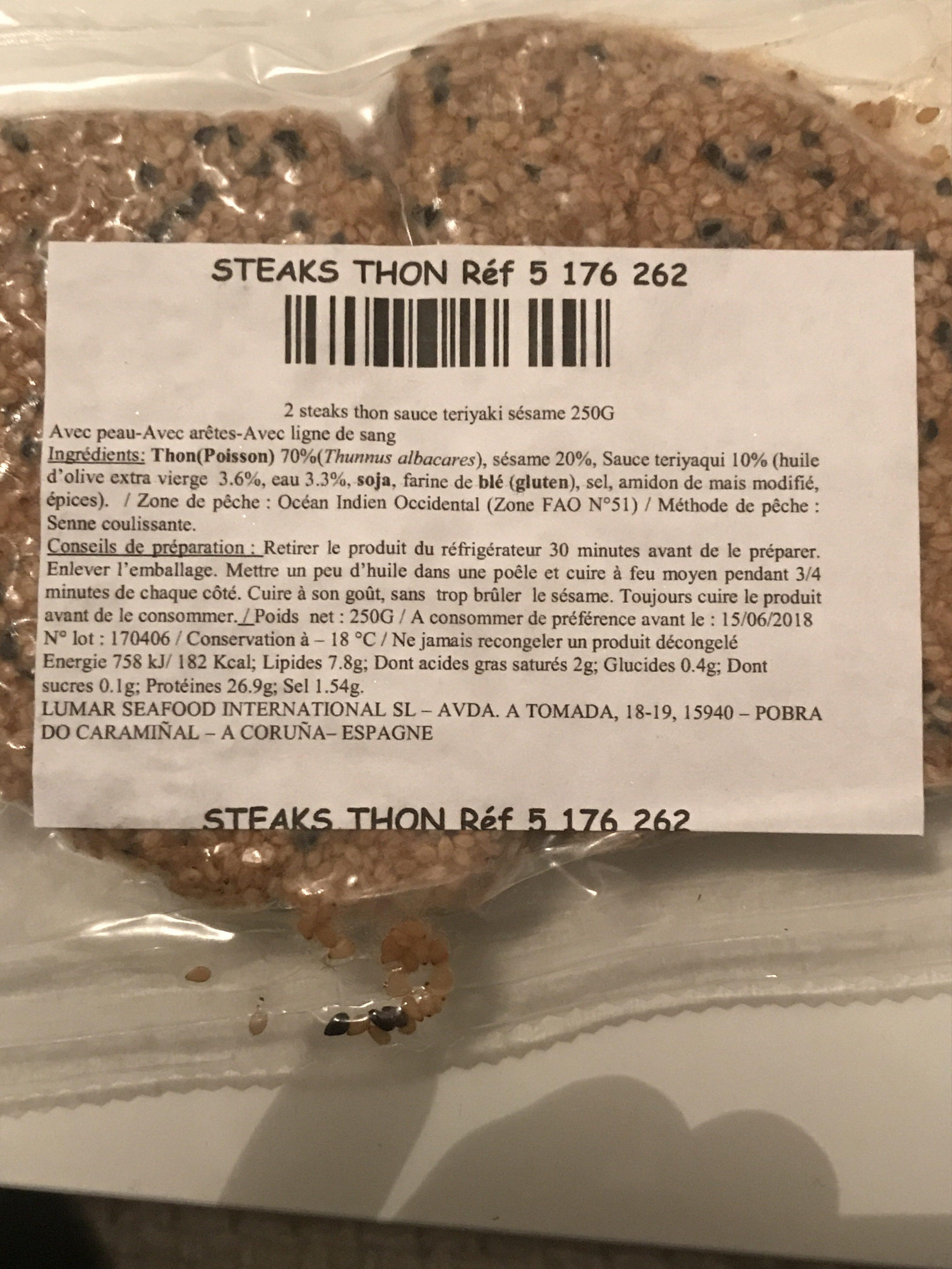 Steaks Thon - Ingredients - fr
