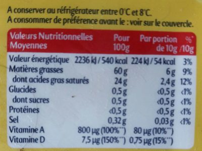 Planta Fin doux - Nutrition facts
