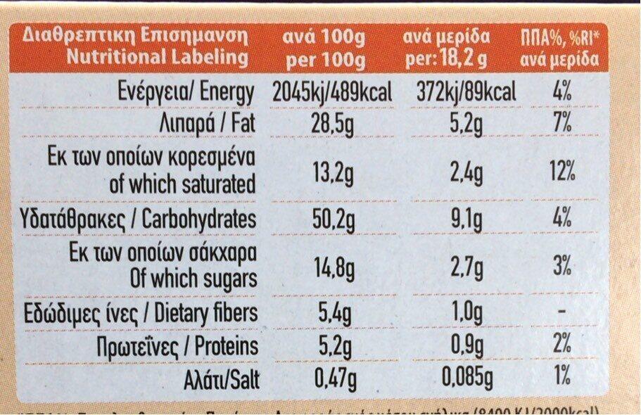 Biscuit VROMIS au miel - Información nutricional - fr